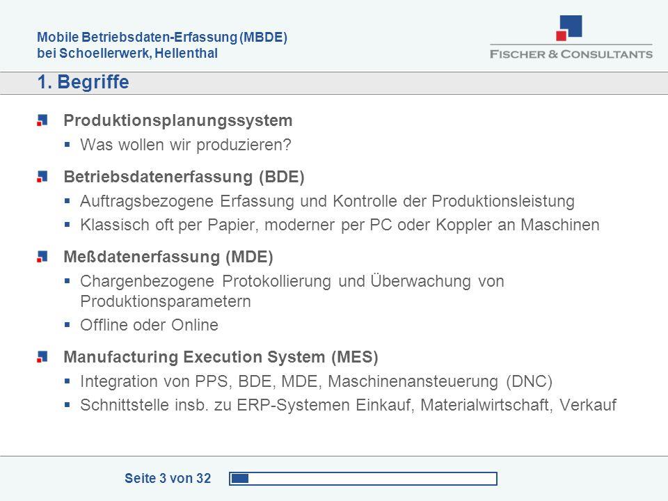 Mobile Betriebsdaten-Erfassung (MBDE) bei Schoellerwerk, Hellenthal Seite 3 von 32 1. Begriffe Produktionsplanungssystem Was wollen wir produzieren? B