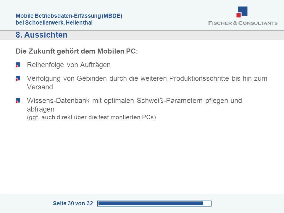 Mobile Betriebsdaten-Erfassung (MBDE) bei Schoellerwerk, Hellenthal Seite 30 von 32 8. Aussichten Die Zukunft gehört dem Mobilen PC: Reihenfolge von A