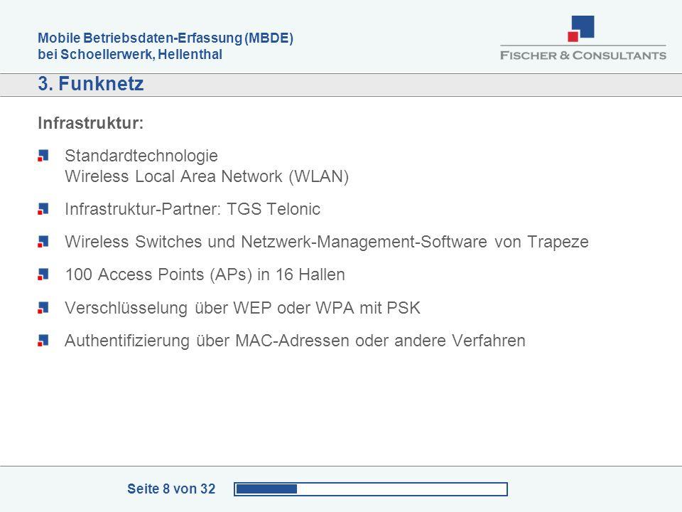 Mobile Betriebsdaten-Erfassung (MBDE) bei Schoellerwerk, Hellenthal Seite 8 von 32 3. Funknetz Infrastruktur: Standardtechnologie Wireless Local Area