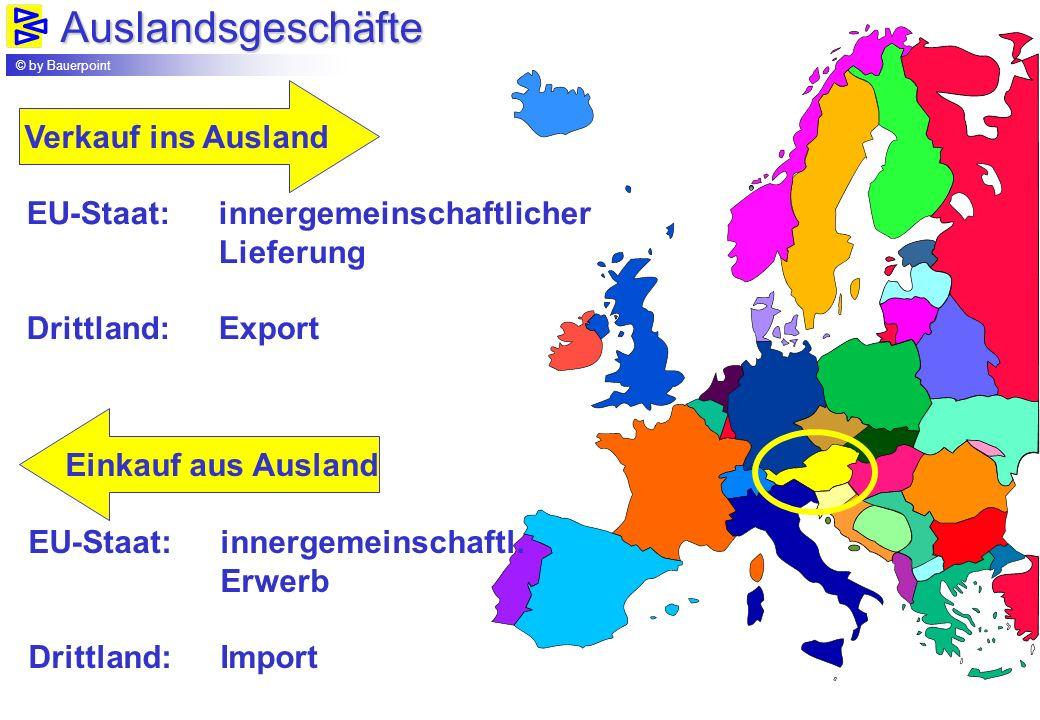 Auslandsgeschäfte © by Bauerpoint Verkauf ins Ausland Einkauf aus Ausland EU-Staat: innergemeinschaftlicher Lieferung Drittland:Export EU-Staat: inner