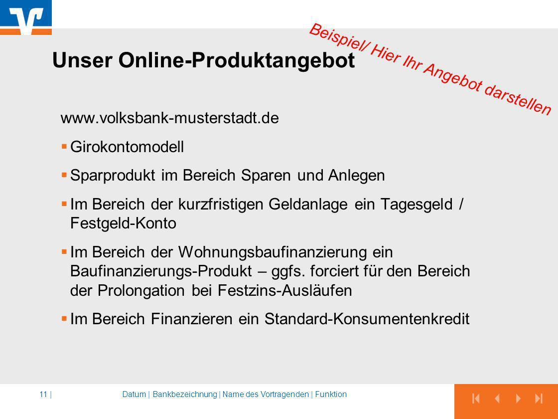 Unser Online-Produktangebot www.volksbank-musterstadt.de Girokontomodell Sparprodukt im Bereich Sparen und Anlegen Im Bereich der kurzfristigen Geldan
