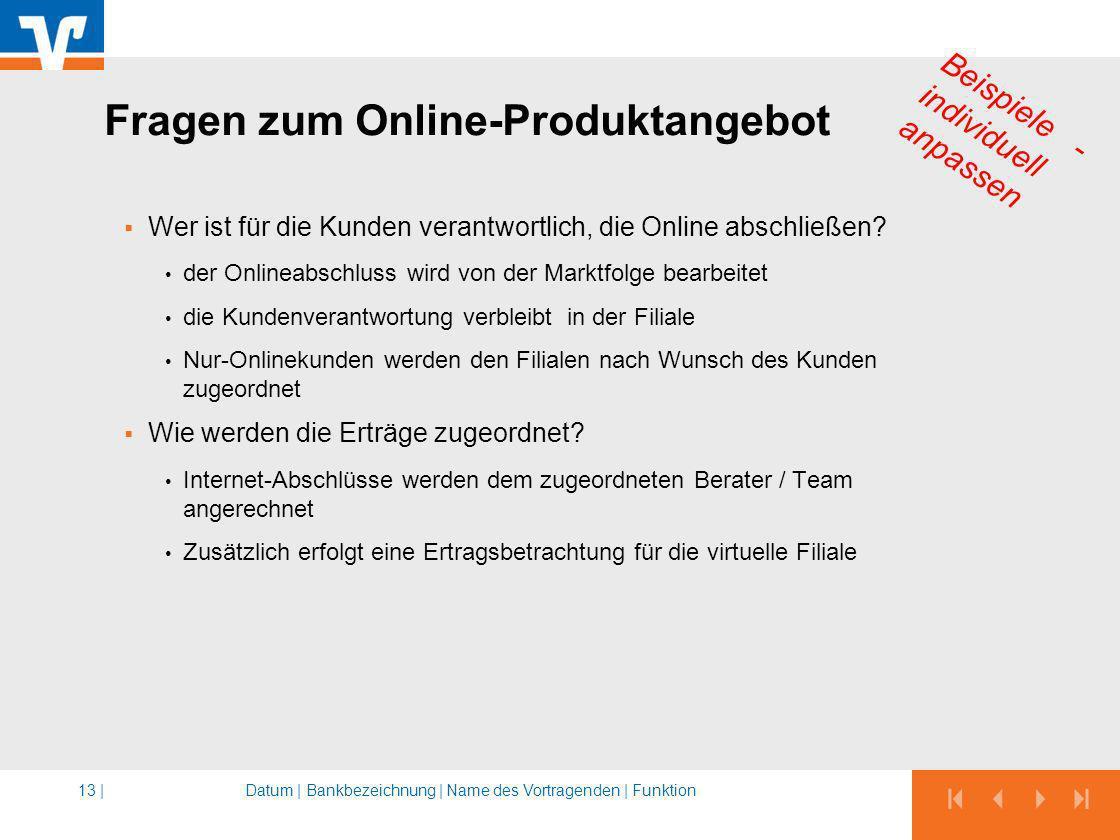 Fragen zum Online-Produktangebot Wer ist für die Kunden verantwortlich, die Online abschließen? der Onlineabschluss wird von der Marktfolge bearbeitet