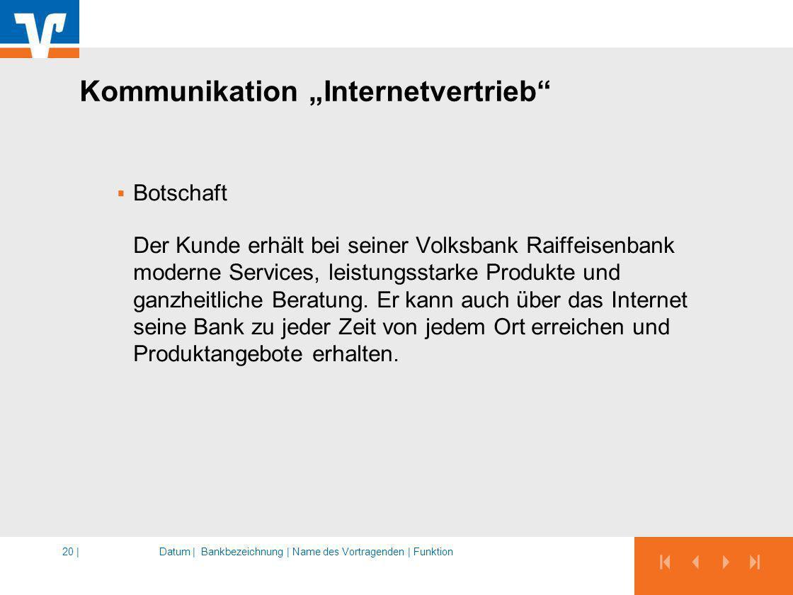 Datum |Bankbezeichnung | Name des Vortragenden | Funktion20 | Kommunikation Internetvertrieb Botschaft Der Kunde erhält bei seiner Volksbank Raiffeise