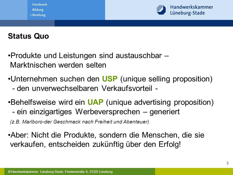 © Handwerkskammer Lüneburg-Stade, Friedenstraße 6, 21335 Lüneburg 3 Status Quo Produkte und Leistungen sind austauschbar – Marktnischen werden selten