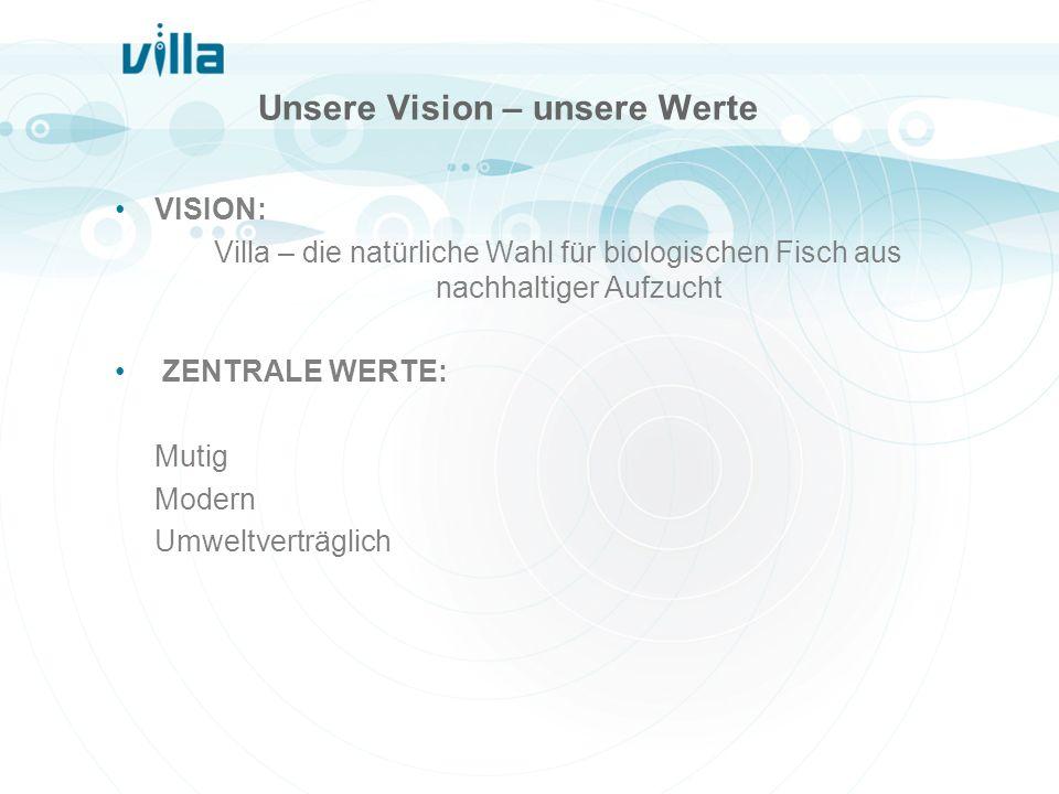 Unsere Vision – unsere Werte VISION: Villa – die natürliche Wahl für biologischen Fisch aus nachhaltiger Aufzucht ZENTRALE WERTE: Mutig Modern Umweltv