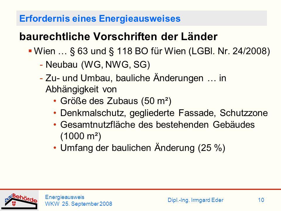 Dipl.-Ing. Irmgard Eder Energieausweis WKW 25. September 2008 10 Erfordernis eines Energieausweises baurechtliche Vorschriften der Länder Wien … § 63
