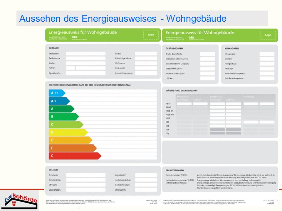 Dipl.-Ing. Irmgard Eder Energieausweis WKW 25. September 2008 14 Aussehen des Energieausweises - Wohngebäude