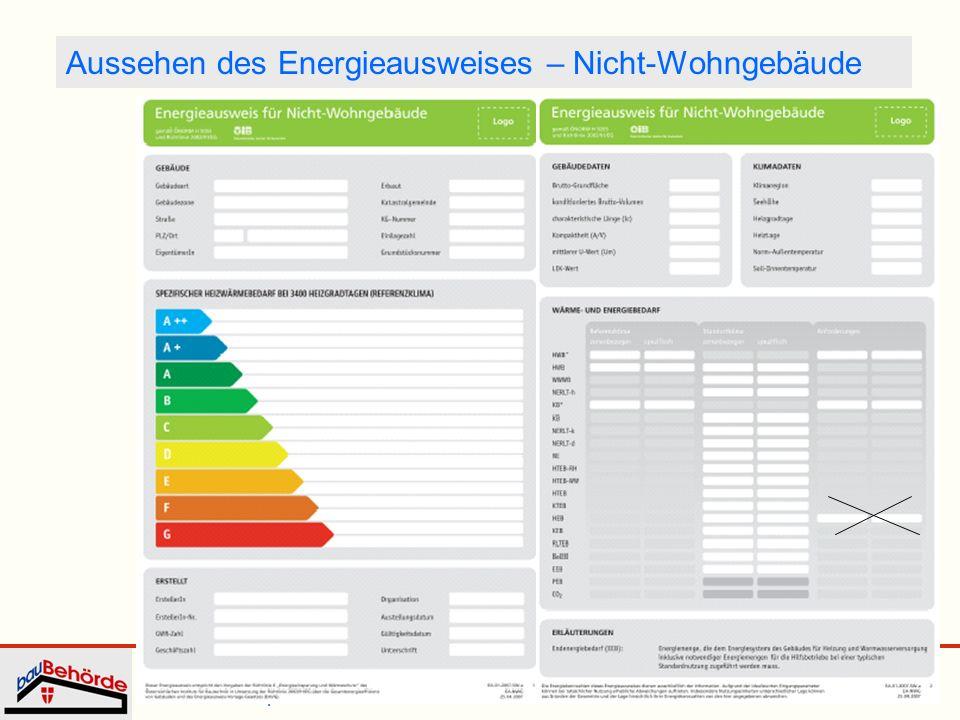 Dipl.-Ing. Irmgard Eder Energieausweis WKW 25. September 2008 15 Aussehen des Energieausweises – Nicht-Wohngebäude