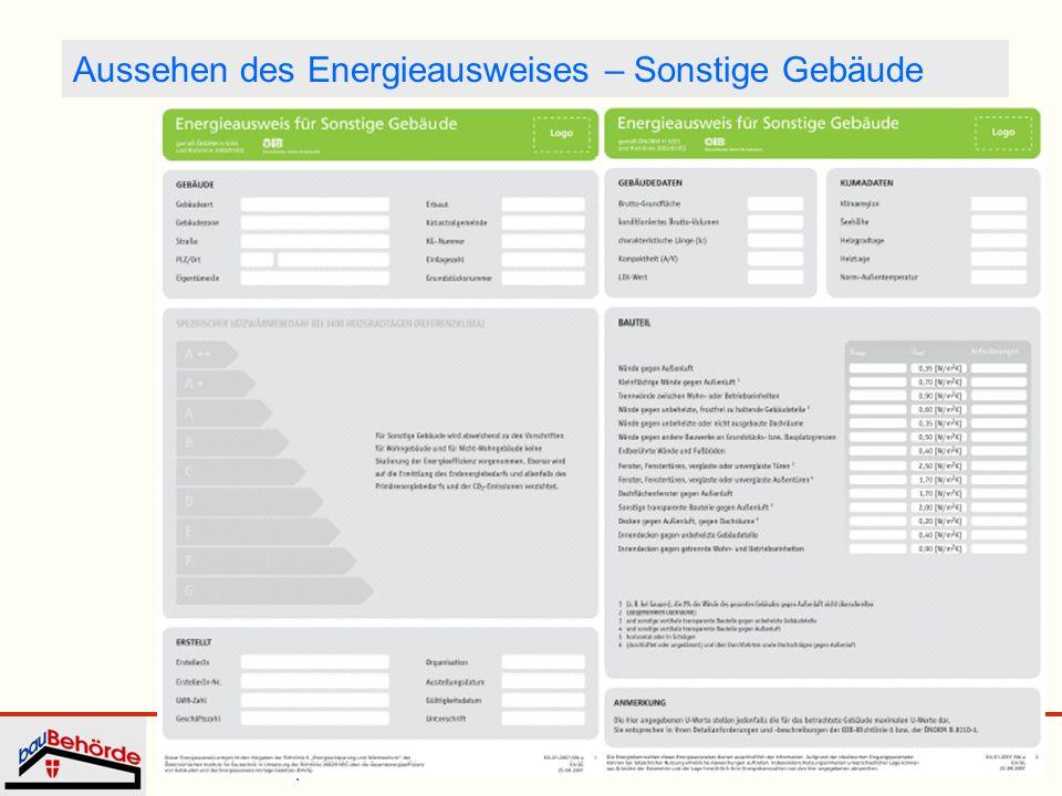 Dipl.-Ing. Irmgard Eder Energieausweis WKW 25. September 2008 16 Aussehen des Energieausweises – Sonstige Gebäude