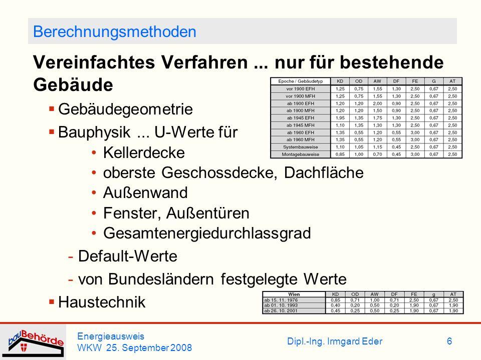 Dipl.-Ing. Irmgard Eder Energieausweis WKW 25. September 2008 6 Berechnungsmethoden Vereinfachtes Verfahren... nur für bestehende Gebäude Gebäudegeome