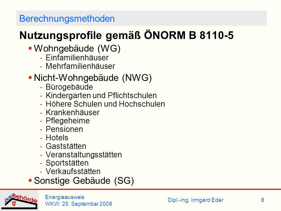 Dipl.-Ing. Irmgard Eder Energieausweis WKW 25. September 2008 8 Berechnungsmethoden Nutzungsprofile gemäß ÖNORM B 8110-5 Wohngebäude (WG) -Einfamilien