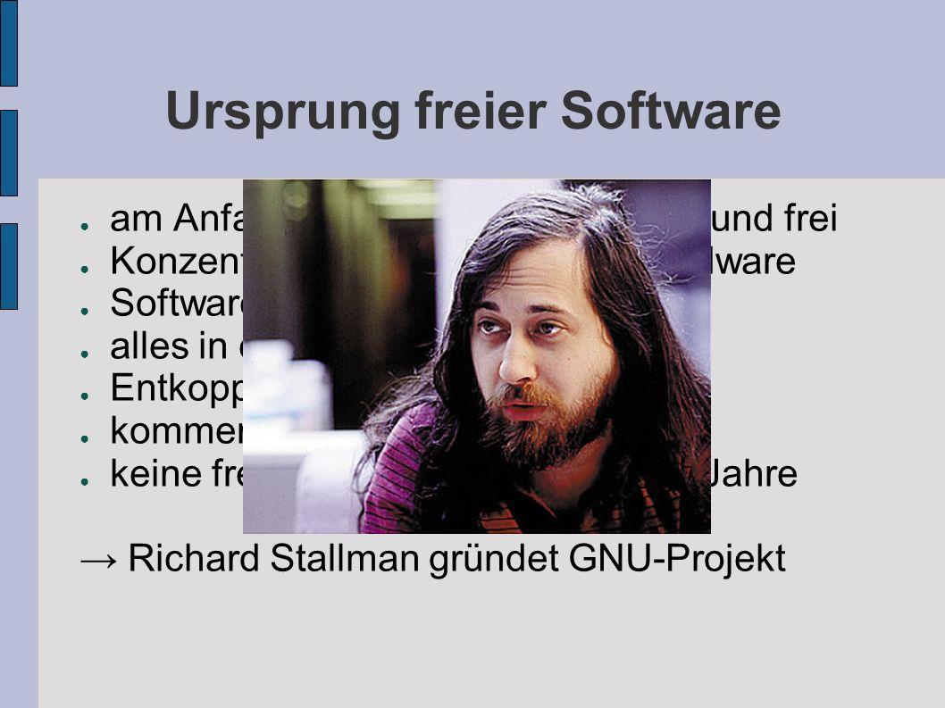 GNU-Projekt Ziel: Erstellung eines freien Betriebssystem Kompatibilität mit Unix GNU s not Unix GCC (Compiler), GNU Emacs (Editor) Vertragsbedingungen: Copyleft – all rights reversed Änderungen müssen der Gemeinschaft wieder verfügbar gemacht werden geplanter Kernel: GNU Hurd (noch nicht fertig) Ersatz: Linux GNU/Linux