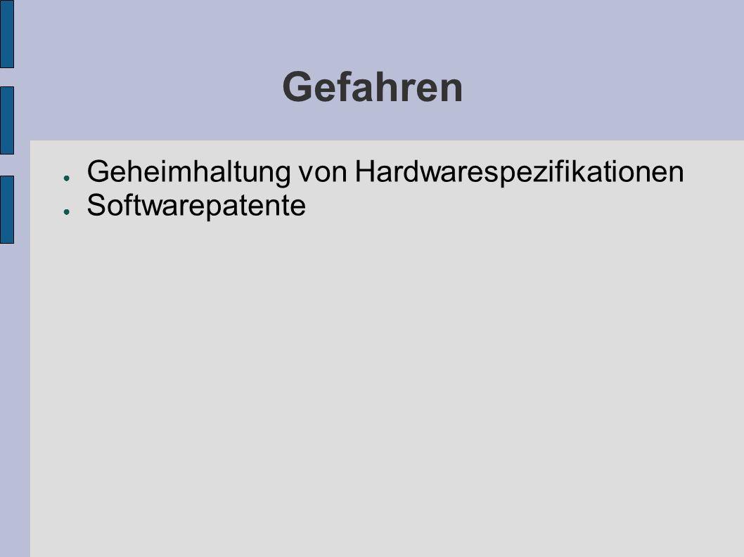 Gefahren Geheimhaltung von Hardwarespezifikationen Softwarepatente