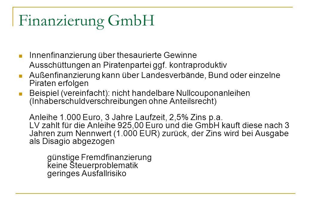 Finanzierung GmbH Innenfinanzierung über thesaurierte Gewinne Ausschüttungen an Piratenpartei ggf. kontraproduktiv Außenfinanzierung kann über Landesv
