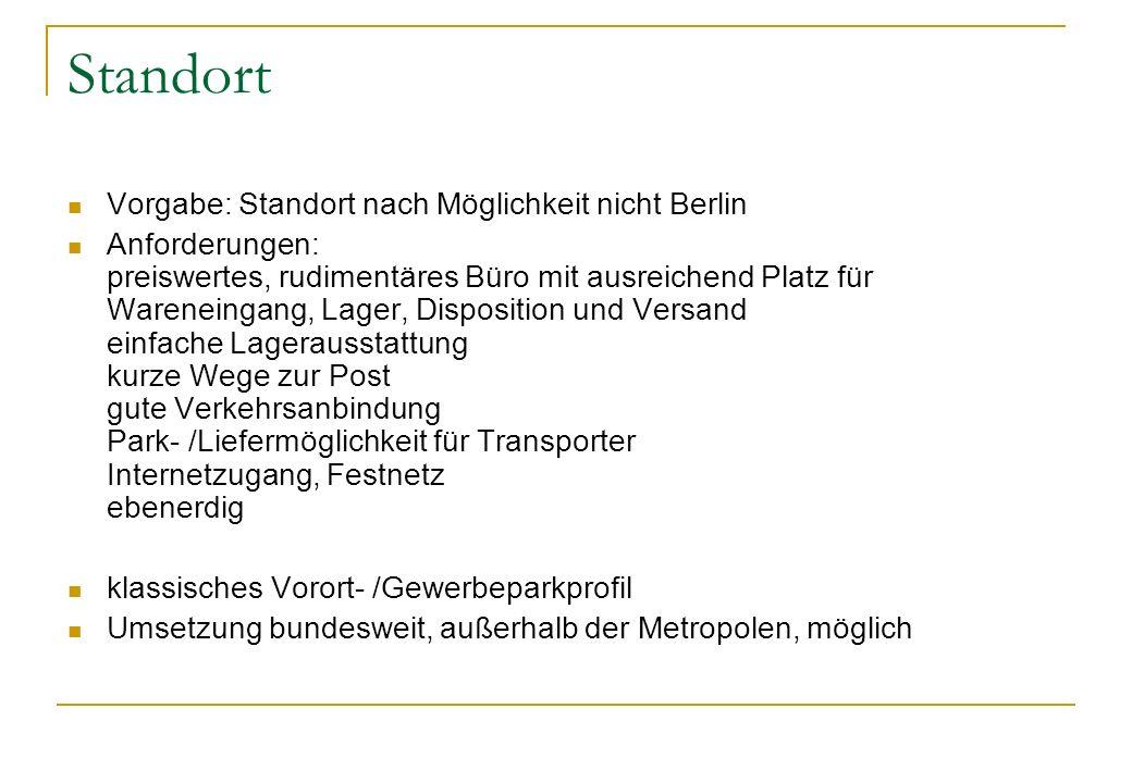Standort Vorgabe: Standort nach Möglichkeit nicht Berlin Anforderungen: preiswertes, rudimentäres Büro mit ausreichend Platz für Wareneingang, Lager,