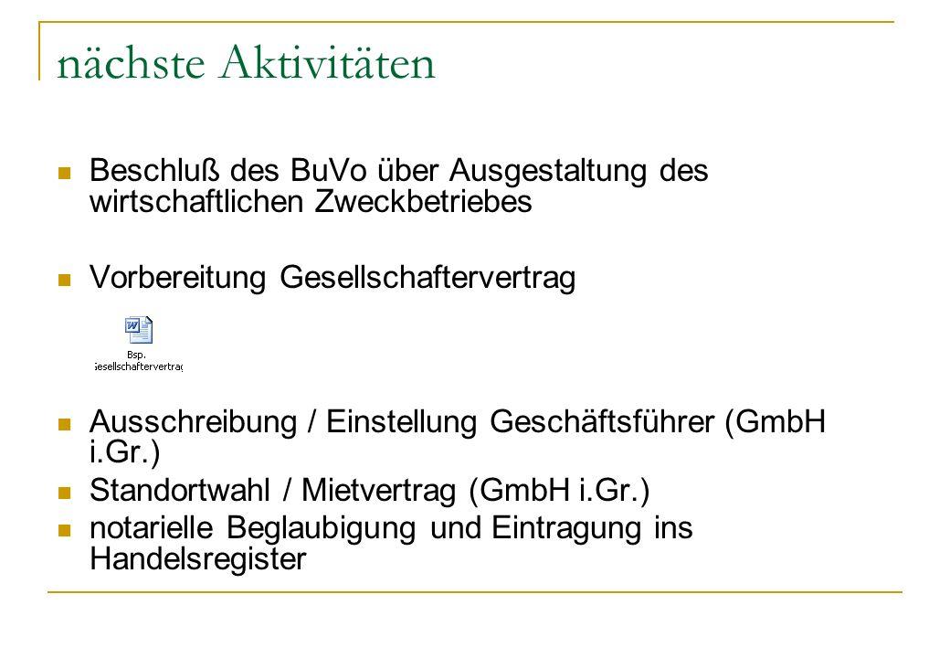 nächste Aktivitäten Beschluß des BuVo über Ausgestaltung des wirtschaftlichen Zweckbetriebes Vorbereitung Gesellschaftervertrag Ausschreibung / Einste