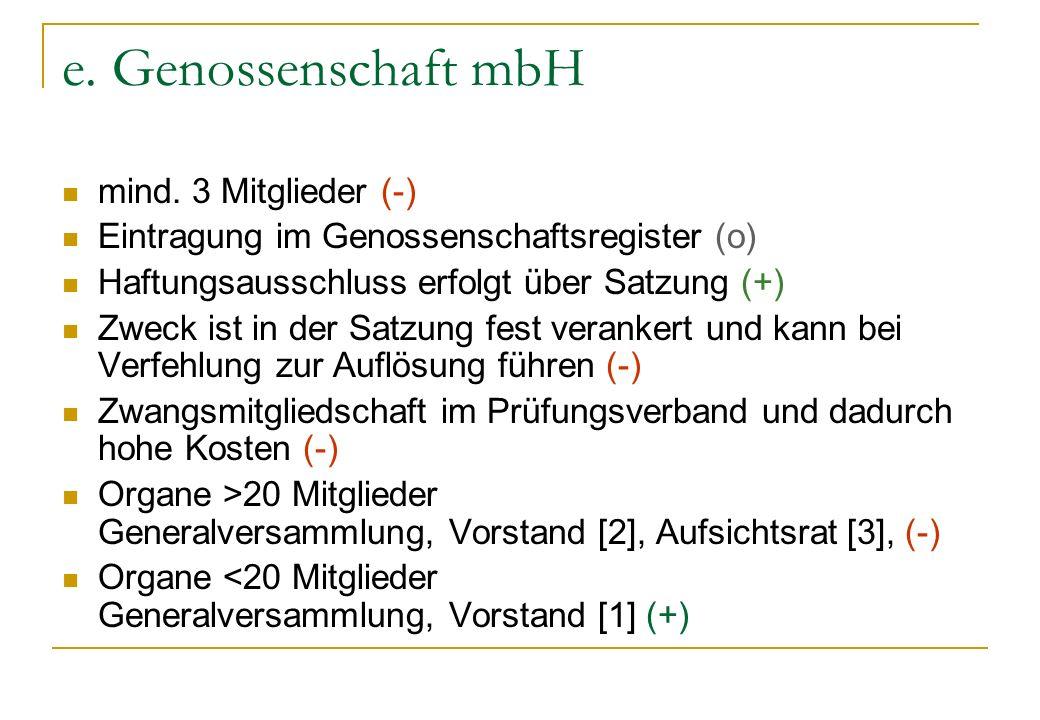 e. Genossenschaft mbH mind. 3 Mitglieder (-) Eintragung im Genossenschaftsregister (o) Haftungsausschluss erfolgt über Satzung (+) Zweck ist in der Sa
