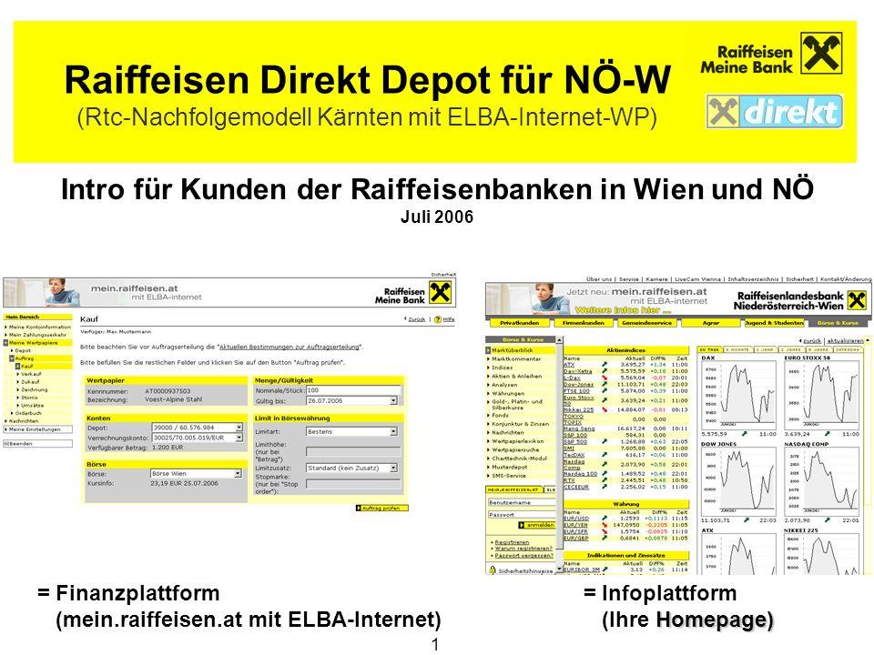 1 Raiffeisen Direkt Depot für NÖ-W (Rtc-Nachfolgemodell Kärnten mit ELBA-Internet-WP) Intro für Kunden der Raiffeisenbanken in Wien und NÖ Juli 2006 =