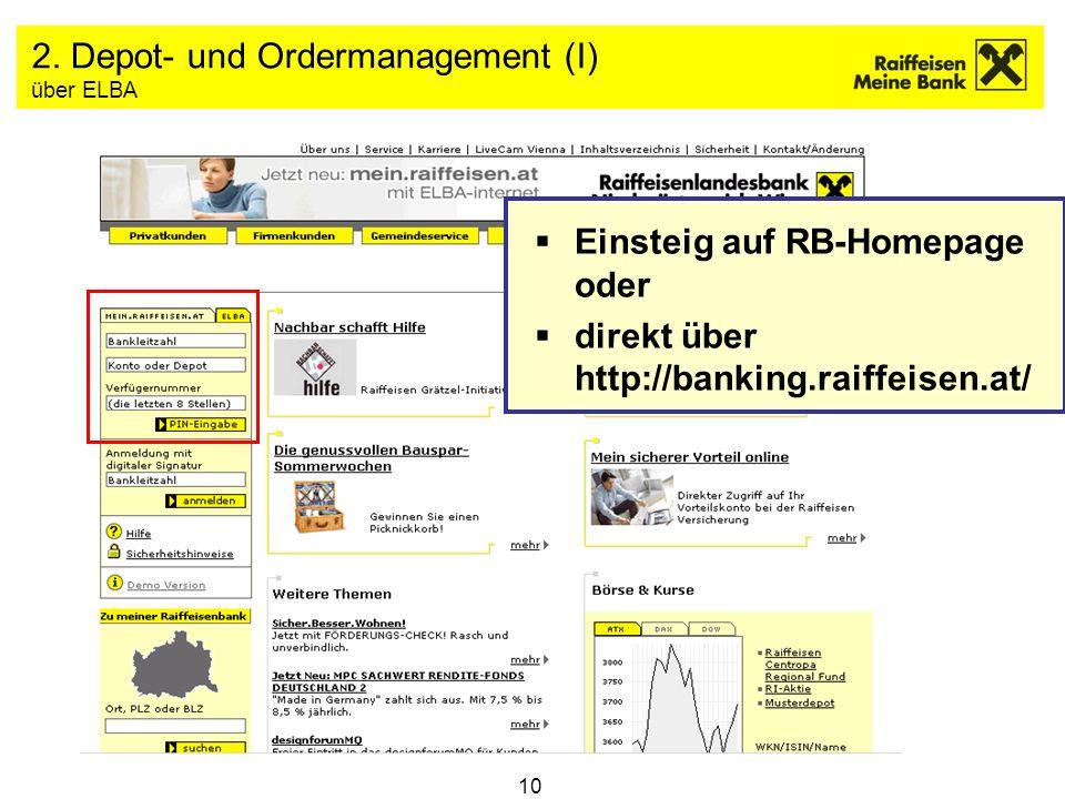 10 2. Depot- und Ordermanagement (I) über ELBA Einsteig auf RB-Homepage oder direkt über http://banking.raiffeisen.at/