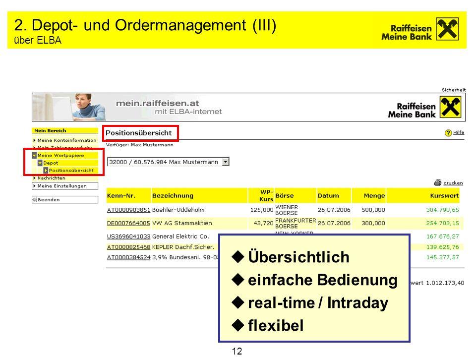12 2. Depot- und Ordermanagement (III) über ELBA uÜbersichtlich ueinfache Bedienung ureal-time / Intraday uflexibel