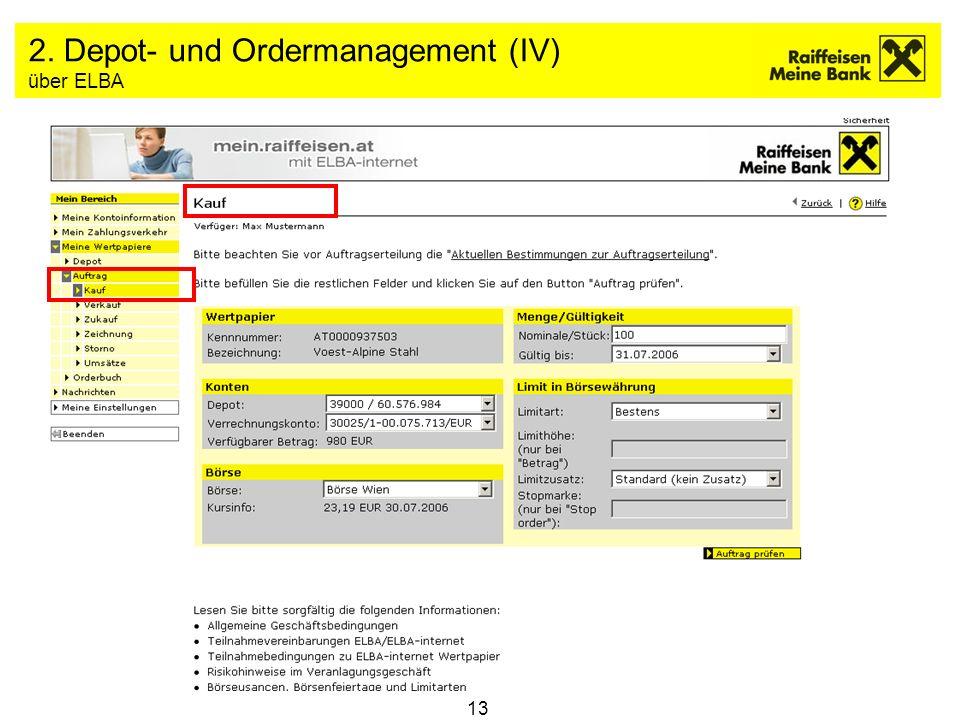13 2. Depot- und Ordermanagement (IV) über ELBA