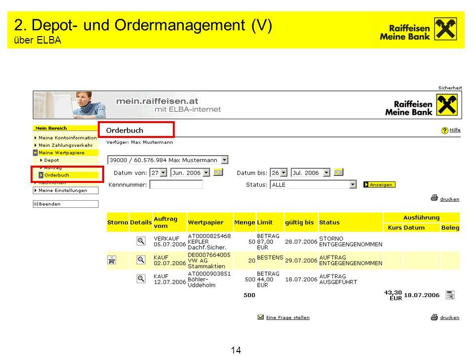 14 2. Depot- und Ordermanagement (V) über ELBA