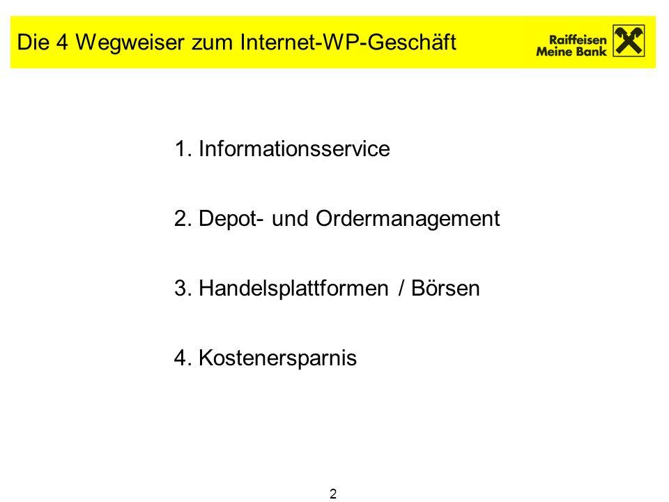 2 Die 4 Wegweiser zum Internet-WP-Geschäft 1. Informationsservice 2. Depot- und Ordermanagement 3. Handelsplattformen / Börsen 4. Kostenersparnis