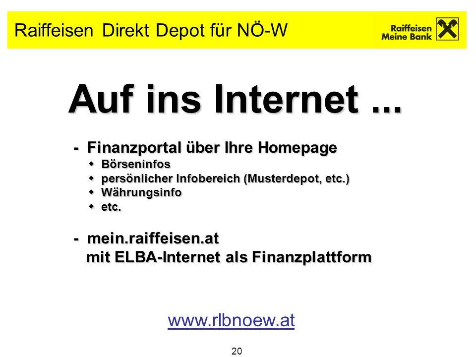 20 Raiffeisen Direkt Depot für NÖ-W Auf ins Internet... - Finanzportal über Ihre Homepage - Finanzportal über Ihre Homepage Börseninfos Börseninfos pe