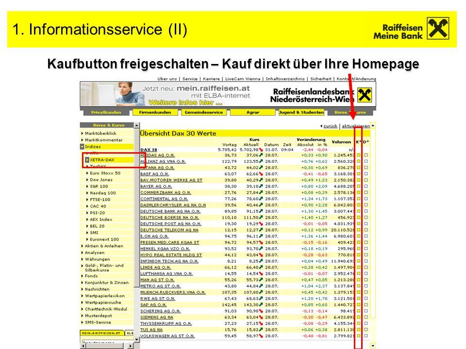 4 1. Informationsservice (II) Kaufbutton freigeschalten – Kauf direkt über Ihre Homepage