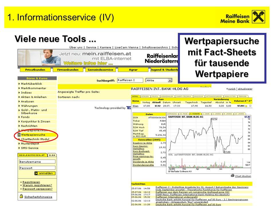 6 1. Informationsservice (IV) Viele neue Tools... Wertpapiersuche mit Fact-Sheets für tausende Wertpapiere