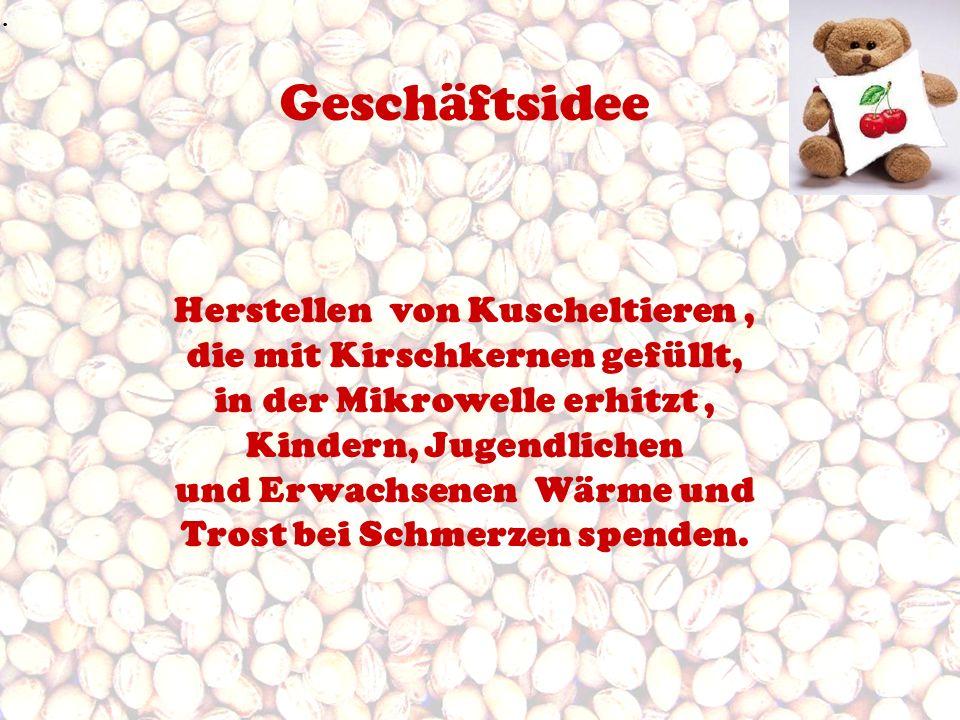 Geschäftsidee Herstellen von Kuscheltieren, die mit Kirschkernen gefüllt, in der Mikrowelle erhitzt, Kindern, Jugendlichen und Erwachsenen Wärme und T