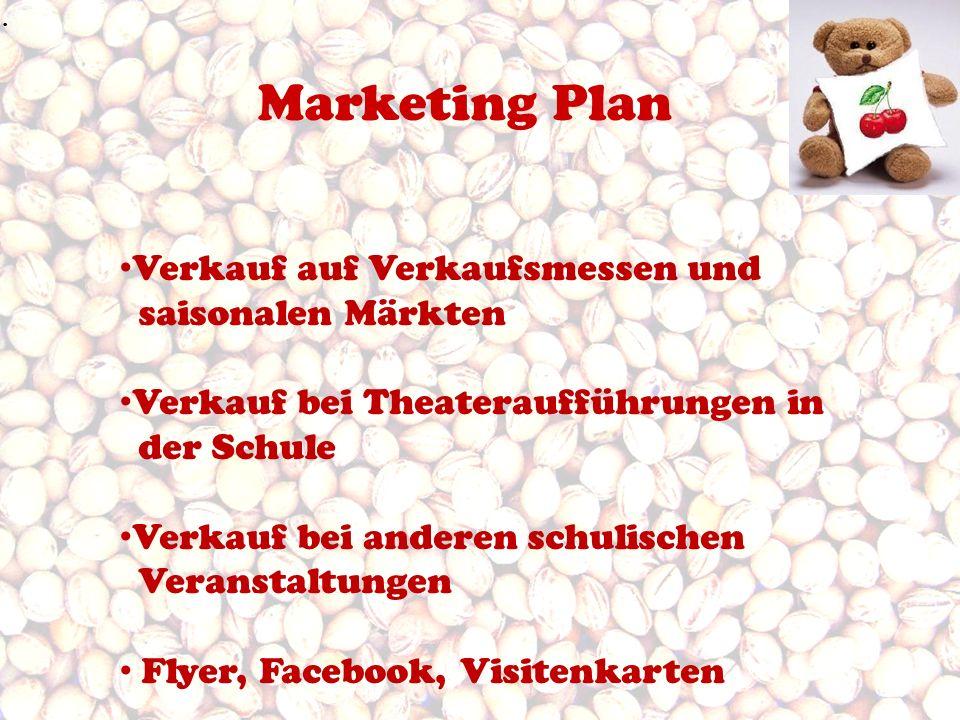 Marketing Plan. Verkauf auf Verkaufsmessen und saisonalen Märkten Verkauf bei Theateraufführungen in der Schule Verkauf bei anderen schulischen Verans