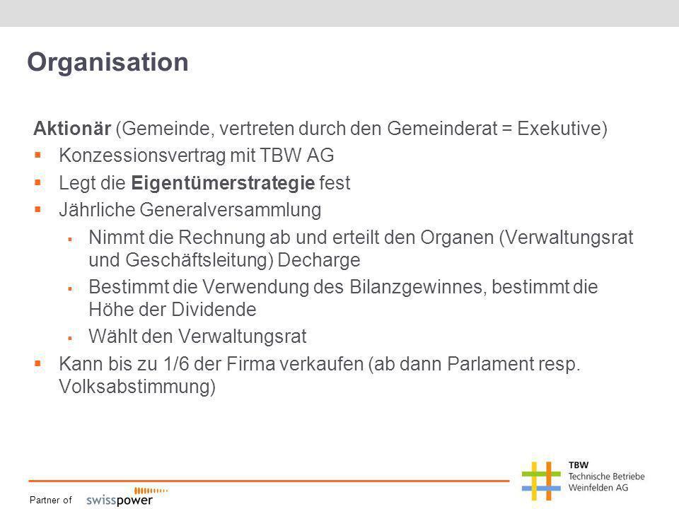 Partner of Organisation Aktionär (Gemeinde, vertreten durch den Gemeinderat = Exekutive) Konzessionsvertrag mit TBW AG Legt die Eigentümerstrategie fe