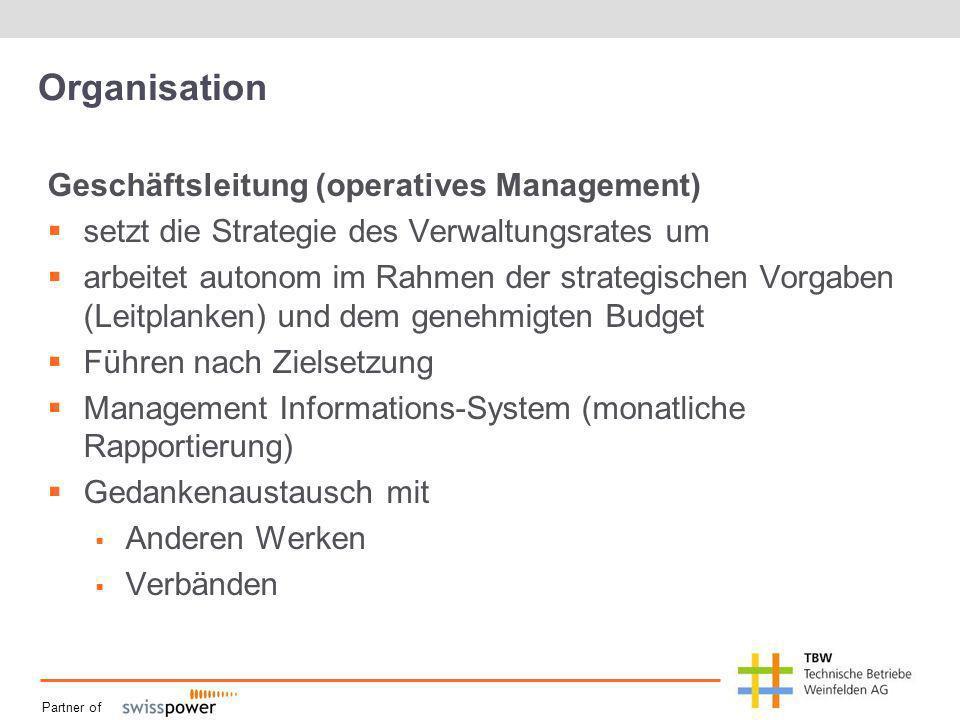 Partner of Organisation Geschäftsleitung (operatives Management) setzt die Strategie des Verwaltungsrates um arbeitet autonom im Rahmen der strategisc
