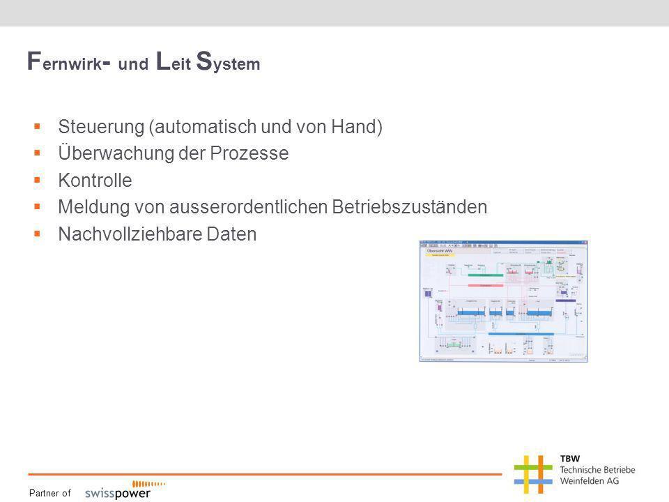 Partner of F ernwirk - und L eit S ystem Steuerung (automatisch und von Hand) Überwachung der Prozesse Kontrolle Meldung von ausserordentlichen Betriebszuständen Nachvollziehbare Daten