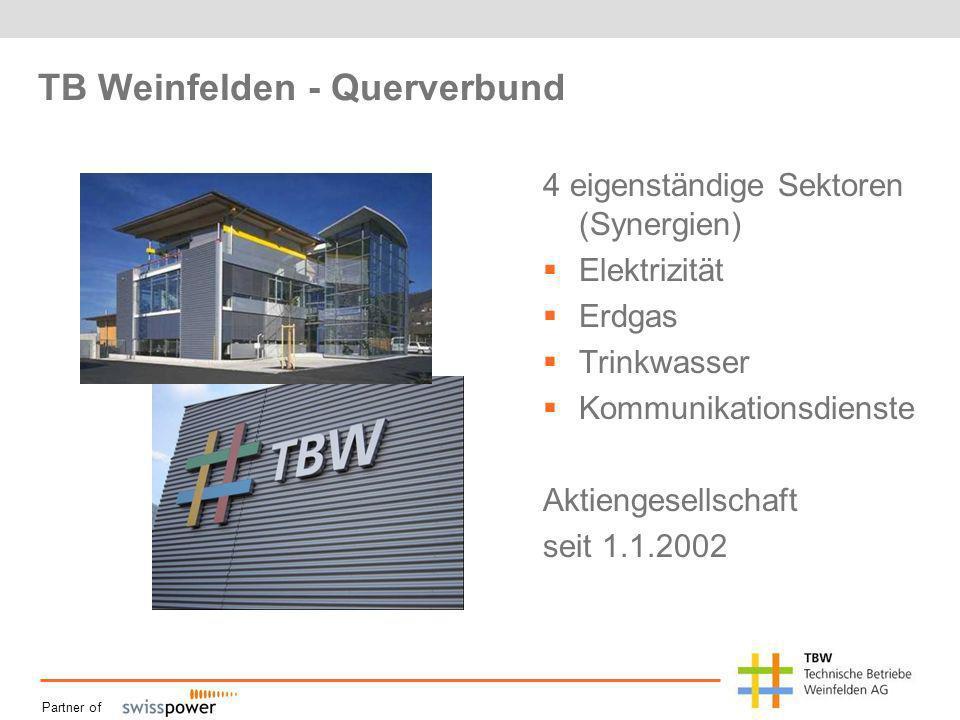 Partner of TB Weinfelden - Querverbund 4 eigenständige Sektoren (Synergien) Elektrizität Erdgas Trinkwasser Kommunikationsdienste Aktiengesellschaft seit 1.1.2002