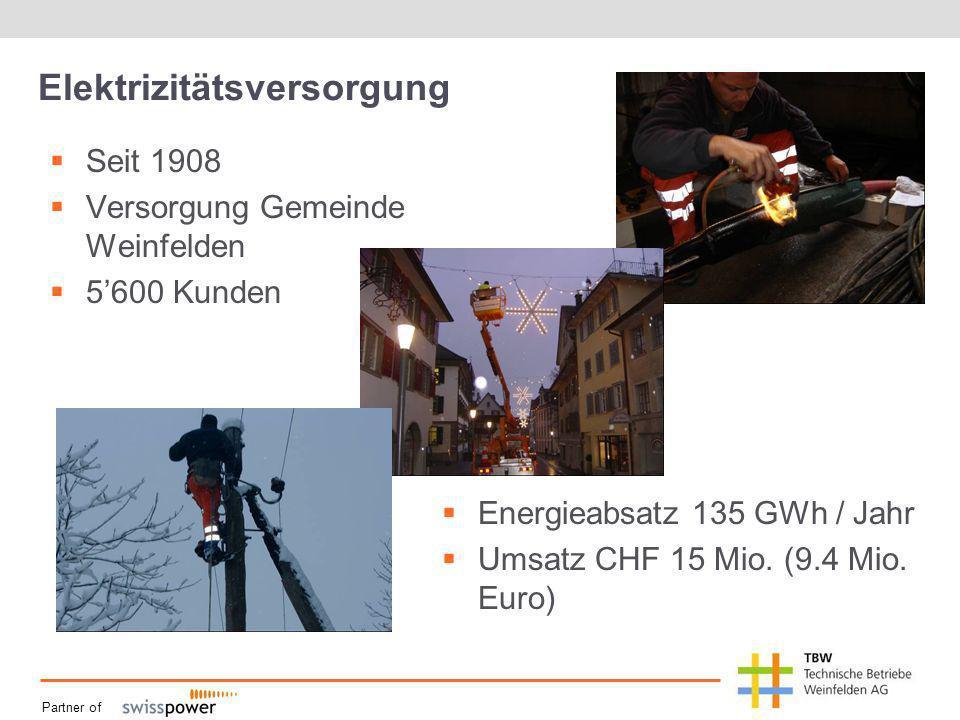 Partner of Elektrizitätsversorgung Seit 1908 Versorgung Gemeinde Weinfelden 5600 Kunden Energieabsatz 135 GWh / Jahr Umsatz CHF 15 Mio. (9.4 Mio. Euro