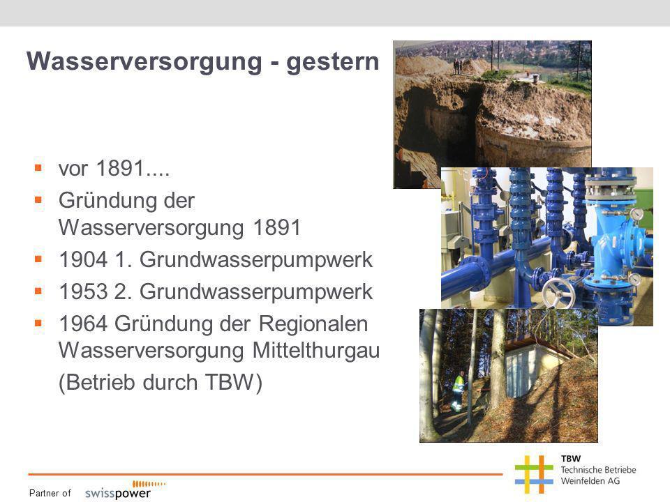 Partner of Wasserversorgung - gestern vor 1891.... Gründung der Wasserversorgung 1891 1904 1. Grundwasserpumpwerk 1953 2. Grundwasserpumpwerk 1964 Grü