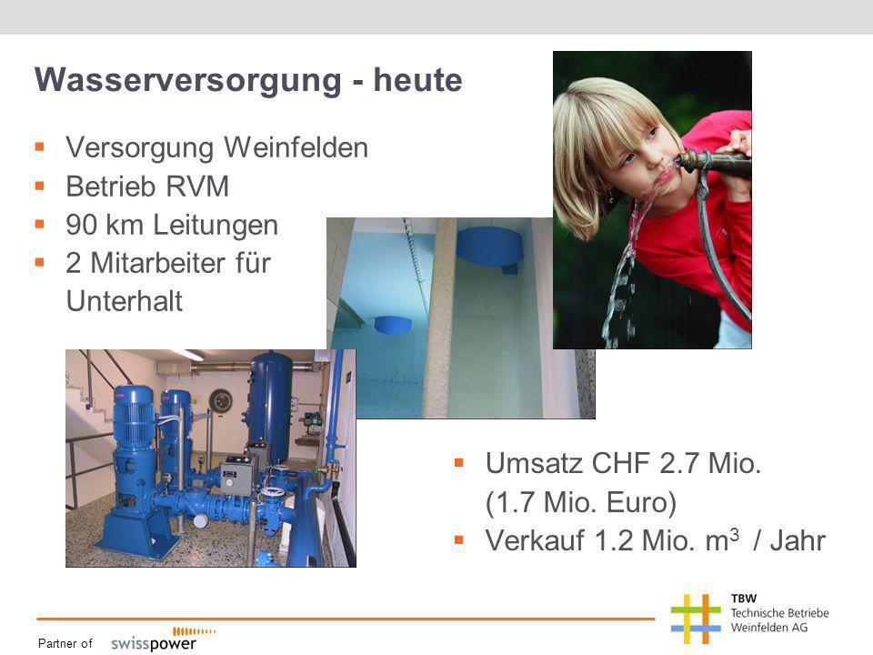 Partner of Wasserversorgung - heute Versorgung Weinfelden Betrieb RVM 90 km Leitungen 2 Mitarbeiter für Unterhalt Umsatz CHF 2.7 Mio.
