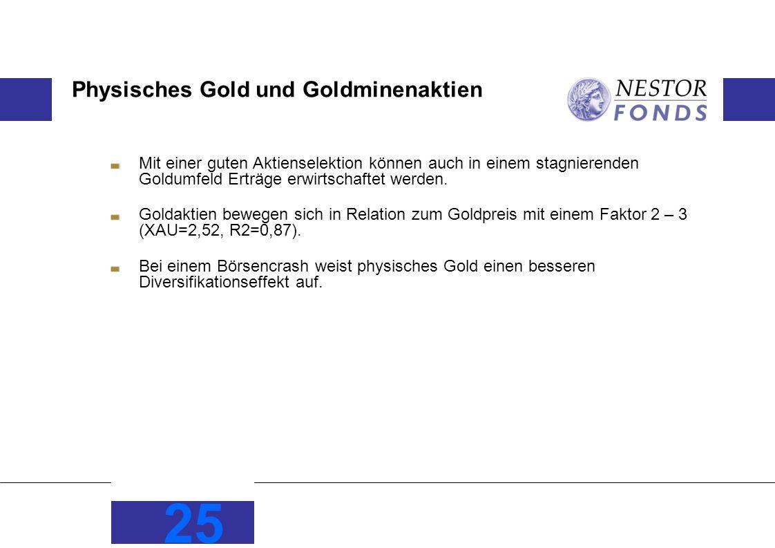Physisches Gold und Goldminenaktien Mit einer guten Aktienselektion können auch in einem stagnierenden Goldumfeld Erträge erwirtschaftet werden.