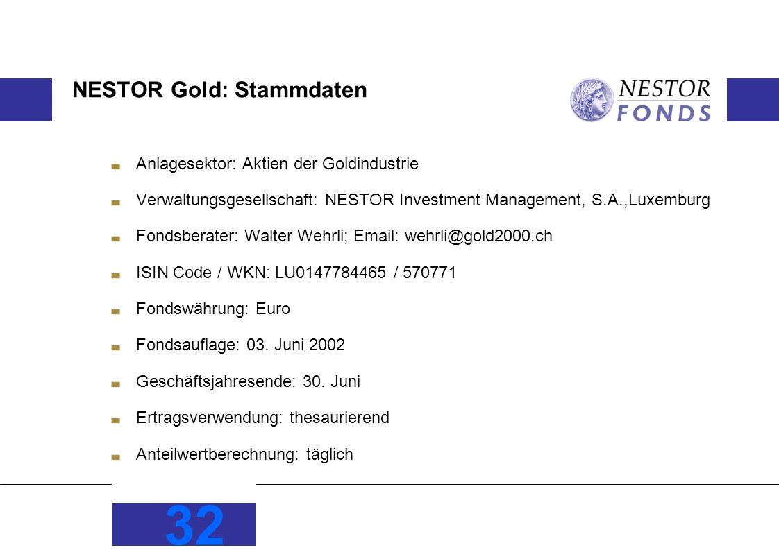 NESTOR Gold: Stammdaten Anlagesektor: Aktien der Goldindustrie Verwaltungsgesellschaft: NESTOR Investment Management, S.A.,Luxemburg Fondsberater: Walter Wehrli; Email: wehrli@gold2000.ch ISIN Code / WKN: LU0147784465 / 570771 Fondswährung: Euro Fondsauflage: 03.