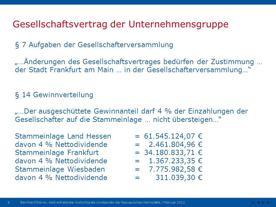 6Bernhard Stöver, stellvertretender Aufsichtsratsvorsitzender der Nassauischen Heimstätte / Februar 2012 Gesellschaftsvertrag der Unternehmensgruppe § 7 Aufgaben der Gesellschafterversammlung …Änderungen des Gesellschaftsvertrages bedürfen der Zustimmung … der Stadt Frankfurt am Main … in der Gesellschafterversammlung… § 14 Gewinnverteilung …Der ausgeschüttete Gewinnanteil darf 4 % der Einzahlungen der Gesellschafter auf die Stammeinlage … nicht übersteigen… Stammeinlage Land Hessen= 61.545.124,07 davon 4 % Nettodividende = 2.461.804,96 Stammeinlage Frankfurt =34.180.833,71 davon 4 % Nettodividende=1.367.233,35 Stammeinlage Wiesbaden=7.775.982,58 davon 4 % Nettodividende=311.039,30