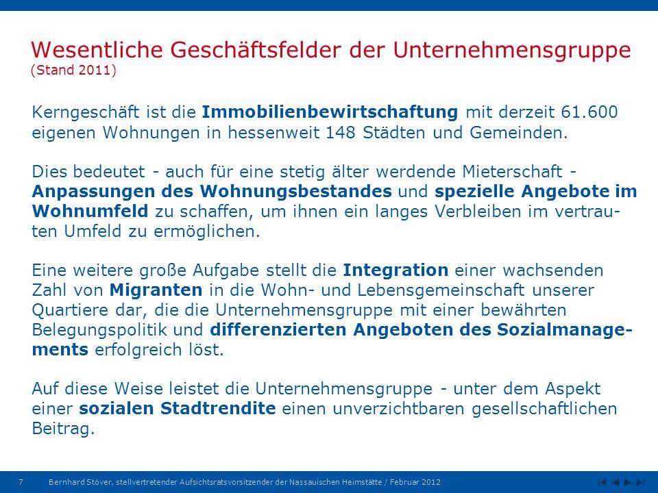 7Bernhard Stöver, stellvertretender Aufsichtsratsvorsitzender der Nassauischen Heimstätte / Februar 2012 Wesentliche Geschäftsfelder der Unternehmensgruppe (Stand 2011) Kerngeschäft ist die Immobilienbewirtschaftung mit derzeit 61.600 eigenen Wohnungen in hessenweit 148 Städten und Gemeinden.