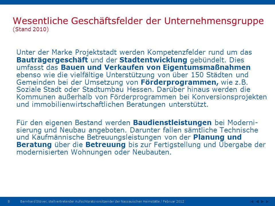8Bernhard Stöver, stellvertretender Aufsichtsratsvorsitzender der Nassauischen Heimstätte / Februar 2012 Wesentliche Geschäftsfelder der Unternehmensgruppe (Stand 2010) Unter der Marke Projektstadt werden Kompetenzfelder rund um das Bauträgergeschäft und der Stadtentwicklung gebündelt.