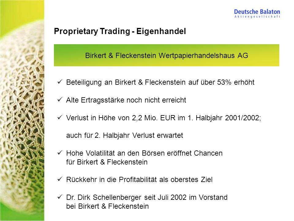 Proprietary Trading - Eigenhandel Birkert & Fleckenstein Wertpapierhandelshaus AG Beteiligung an Birkert & Fleckenstein auf über 53% erhöht Alte Ertragsstärke noch nicht erreicht Verlust in Höhe von 2,2 Mio.