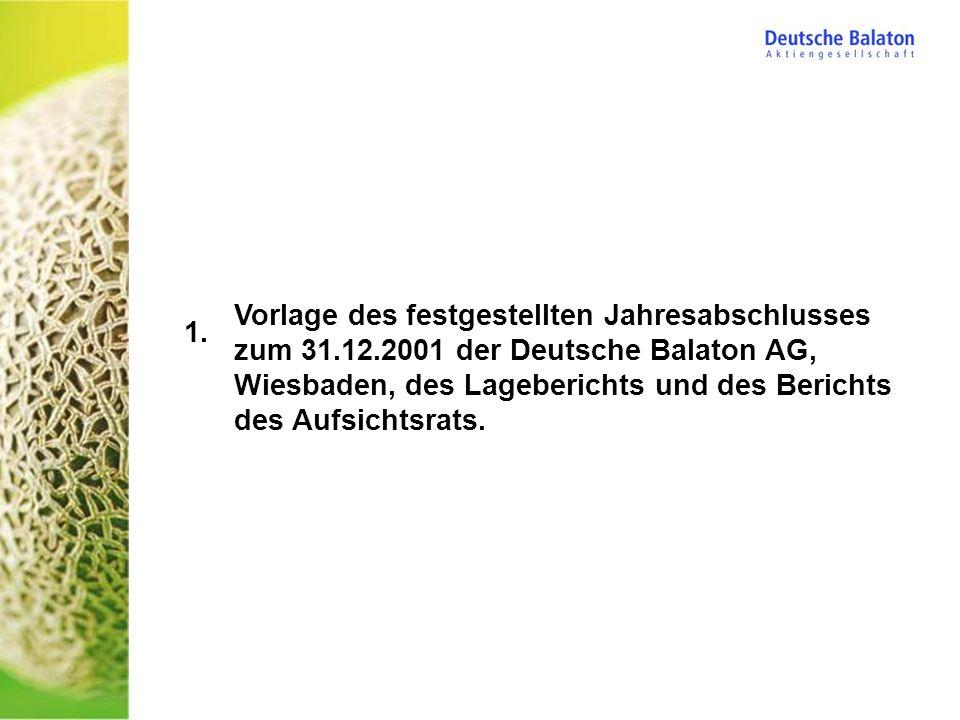 Vorlage des festgestellten Jahresabschlusses zum 31.12.2001 der Deutsche Balaton AG, Wiesbaden, des Lageberichts und des Berichts des Aufsichtsrats. 1