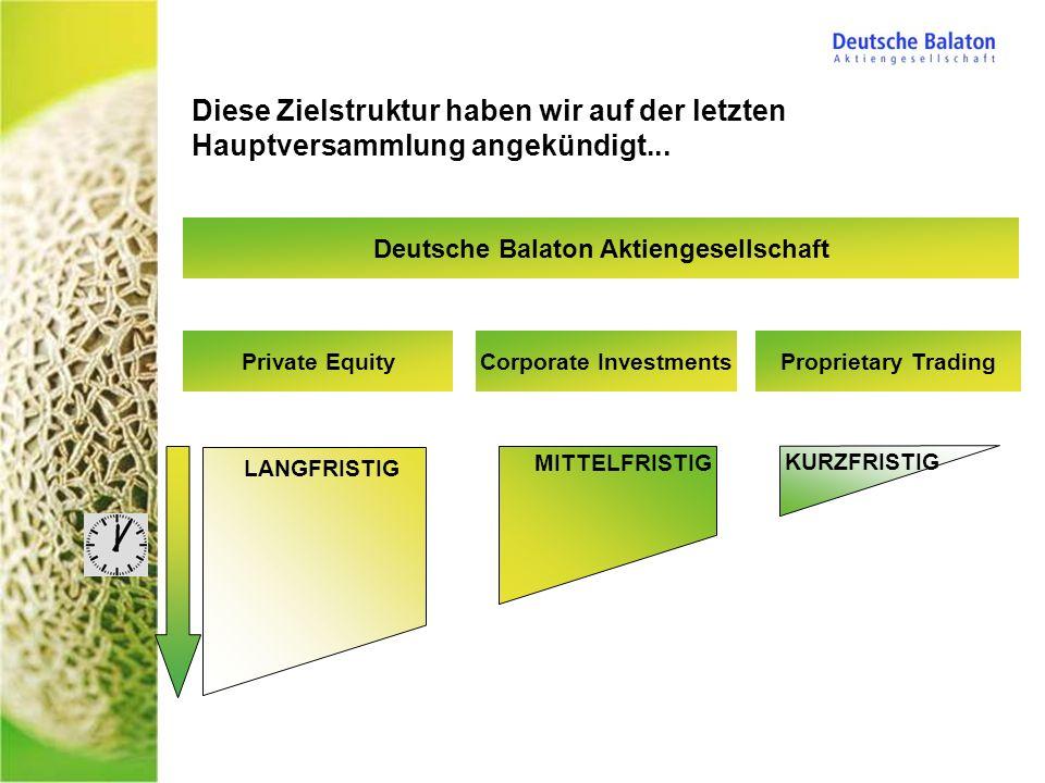 Diese Zielstruktur haben wir auf der letzten Hauptversammlung angekündigt... Deutsche Balaton Aktiengesellschaft Proprietary TradingPrivate EquityCorp