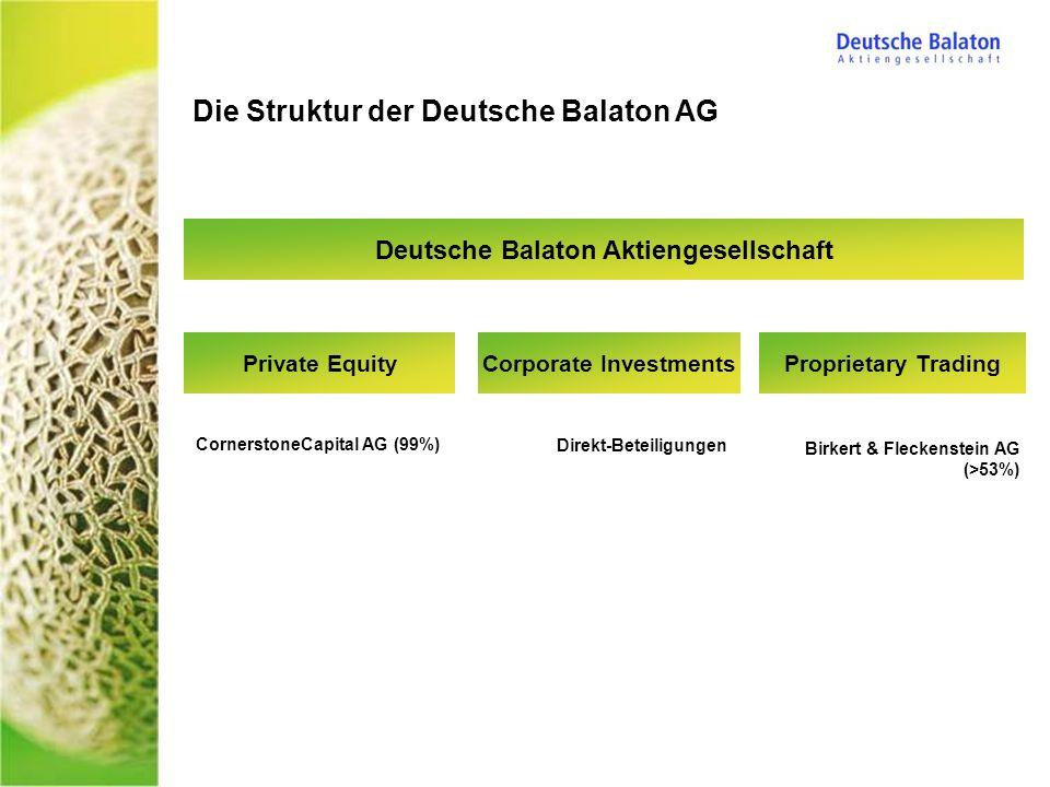 Die Struktur der Deutsche Balaton AG Deutsche Balaton Aktiengesellschaft CornerstoneCapital AG (99%) Birkert & Fleckenstein AG (>53%) Direkt-Beteiligungen Proprietary TradingPrivate EquityCorporate Investments