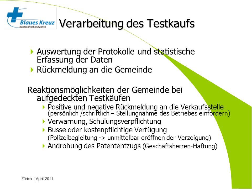 Zürich | April 2011 Auswertung der Protokolle und statistische Erfassung der Daten Rückmeldung an die Gemeinde Reaktionsmöglichkeiten der Gemeinde bei