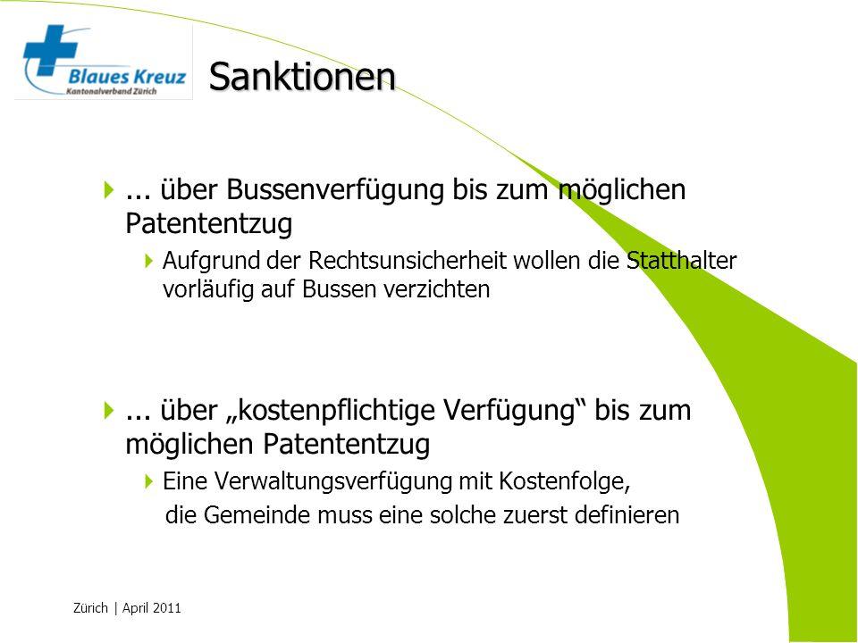 Zürich | April 2011... über Bussenverfügung bis zum möglichen Patententzug Aufgrund der Rechtsunsicherheit wollen die Statthalter vorläufig auf Bussen